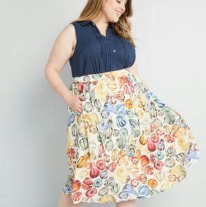 Modcloth fruit slice midi circle skirt